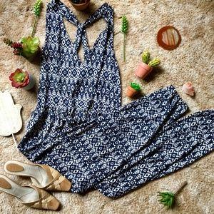 {Loft} Bohemian Gypsy Blue & White Skinny Jumpsuit